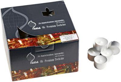 100er-Set Premium Teelichter, 8h weiß   Dekoration > Kerzen und Kerzenständer > Teelichter   Wachs   yomonda