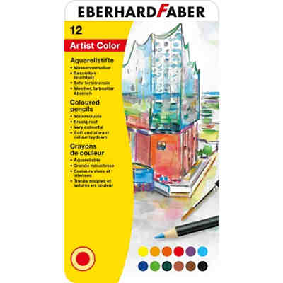 Aquarellbuntstifte, 12 Farben+Pinsel