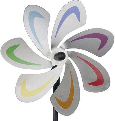 Edelstahl Gartenstecker Windrad ´´Blume´´ Ø28 cm bunt | Garten > Dekoration > Windräder | Edelstahl - Kunststoff | yomonda