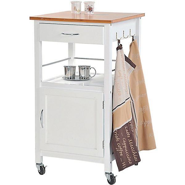 k chenwagen mit unterschrank und schublade wei kesper yomonda. Black Bedroom Furniture Sets. Home Design Ideas