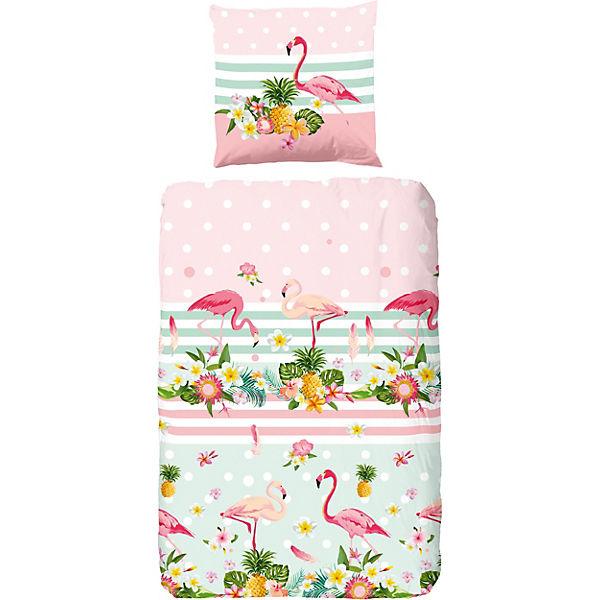 bettw sche flamingo 135x200 80x80 cm wei good morning bedlinens yomonda. Black Bedroom Furniture Sets. Home Design Ideas