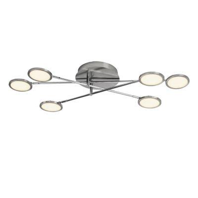 Brilliant Pluto LED Deckenleuchte 35x78cm 6flg eisen/weiß easyDim silber/weiß