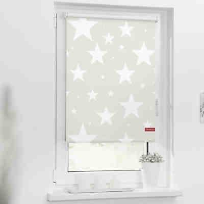 rollo klemmfix ohne bohren verdunkelung sterne beige wei lichtblick yomonda. Black Bedroom Furniture Sets. Home Design Ideas