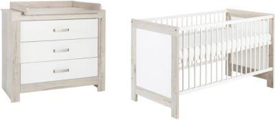 Sparset Nordic Halifax, 2-tlg. (Kombi-Kinderbett 70 x 140 cm, Umbauseiten und Wickelkommode), weiß lackiert, Holzdekor Halifax Eiche