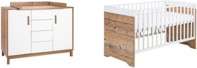 Sparset Timber, 2-tlg. (Kombi-Kinderbett 70 x 140 cm, Umbauseiten und Wickelkommode), weiß/grau lackiert, Holzdekor Bramberg Fichte