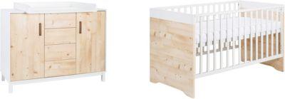 Sparset Timber Pinie, 2-tlg. (Kombi-Kinderbett 70 x 140 cm, Umbauseiten und Wickelkommode), weiß/grau lackiert, Holzdekor Henson Pinie