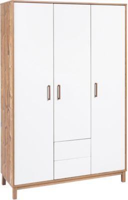Schardt Kleiderschrank Timber, 3-türig, weiß/grau lackiert, Holznachbildung Bramberg Fichte
