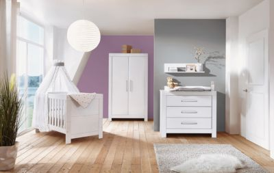 Komplett Kinderzimmer Nordic White, 3-tlg.(Kombi-Kinderbett 70 x 140 cm, Umbauseiten, Wickelkommode mit Wickelaufsatz und Kleiderschrank 2-trg.), weiß lackiert