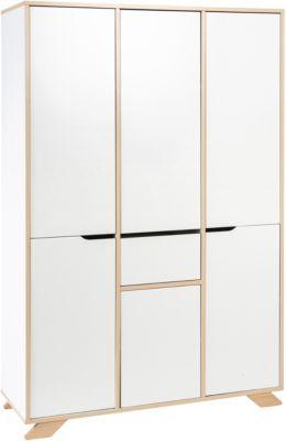 Schardt Kleiderschrank Tokio, 6-türig, weiß lackiert, Holzdekor Altmühlbuche