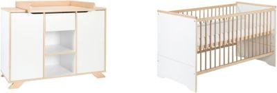 Sparset Tokio, 2-tlg. (Kombi-Kinderbett 70 x 140 cm, Umbauseiten und Wickelkommode), weiß lackiert, Holzdekor Altmühlbuche