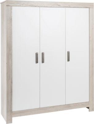 Schardt Kleiderschrank Nordic Halifax, 3-türig, weiß lackiert, Holznachbildung Halifax Eiche