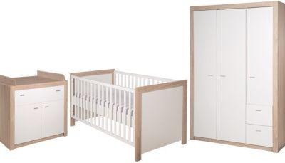 Roba Komplett Kinderzimmer Leni 2, 3-tlg. (Kinderbett, Wickelkommode und Kleiderschrank 3-türig), weiß