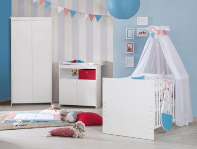 Komplett Kinderzimmer Emilia, 3-tlg. (Kinderbett, Wickelkommode und Kleiderschrank 2-türig), weiß