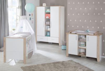 Komplett Kinderzimmer Sam, 3-tlg. (Kinderbett, Wickelkommode und Kleiderschrank 2-türig), weiß