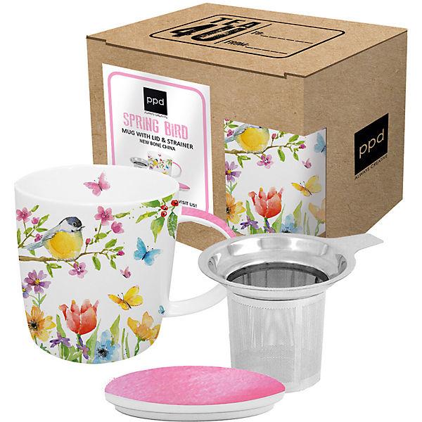 3 tlg teetassen set spring mit sieb deckel in geschenkbox mehrfarbig ppd yomonda. Black Bedroom Furniture Sets. Home Design Ideas