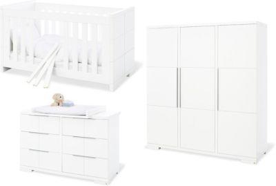 Pinolino Komplett Kinderzimmer Polar, extrabreit und groß, 3-tlg. (Kinderbett 70 x 140 cm, extrabreite Wickelkommode und Kleiderschrank 3-türig), weiß lackiert