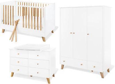 Pinolino Komplett Kinderzimmer Pan, extrabreit und groß, weiß lackiert, Eiche, 70 x 140 cm