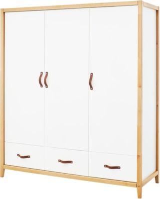 Kleiderschrank Calimero, 3-türig, weiß lackiert