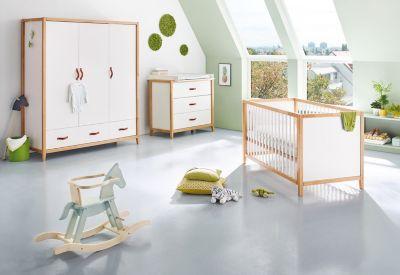 Pinolino Komplett Kinderzimmer Calimero, breit und groß, 3-tlg. (Kinderbett 70 x 140cm, breite Wickelkommode und Kleiderschrank 3-türig), weiß lackiert, Buche