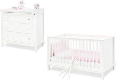 Pinolino Sparset Hope, breit, 2-tlg. (Kinderbett 70 x 140 cm und breite Wickelkommode), weiß lackiert