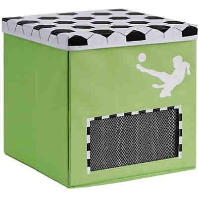 aufbewahrungsbox fu ball mit deckel und tornetz gro extra stabil gr n store it yomonda. Black Bedroom Furniture Sets. Home Design Ideas