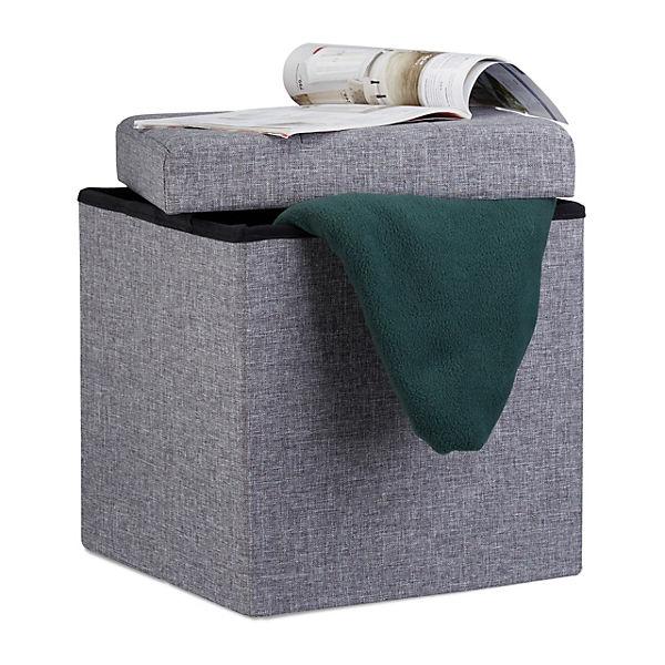 Leinen sitzhocker mit stauraum faltbar grau yomonda for Sitzhocker mit stauraum
