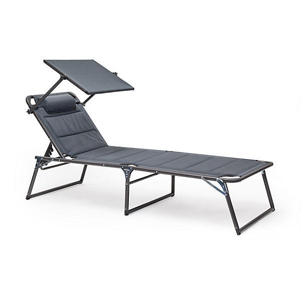 sonnenliege mit dach gepolstert grau yomonda. Black Bedroom Furniture Sets. Home Design Ideas