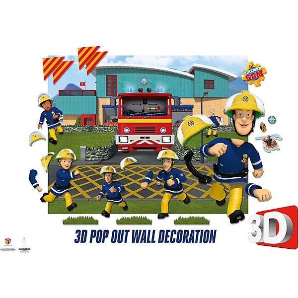 Wandsticker Fireman Sam, 3D Pop Out Wall Decoration, mehrfarbig,  Feuerwehrmann Sam