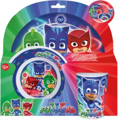 Kindergeschirr Melamin PJ Masks, 3-tlg. grün/blau