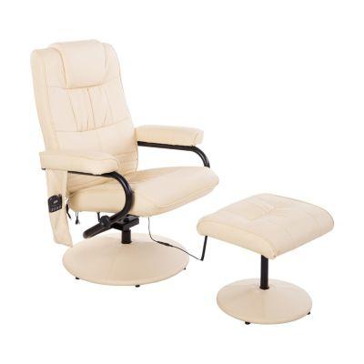 HOMCOM Massagesessel mit Wärmefunktion und Hocker creme