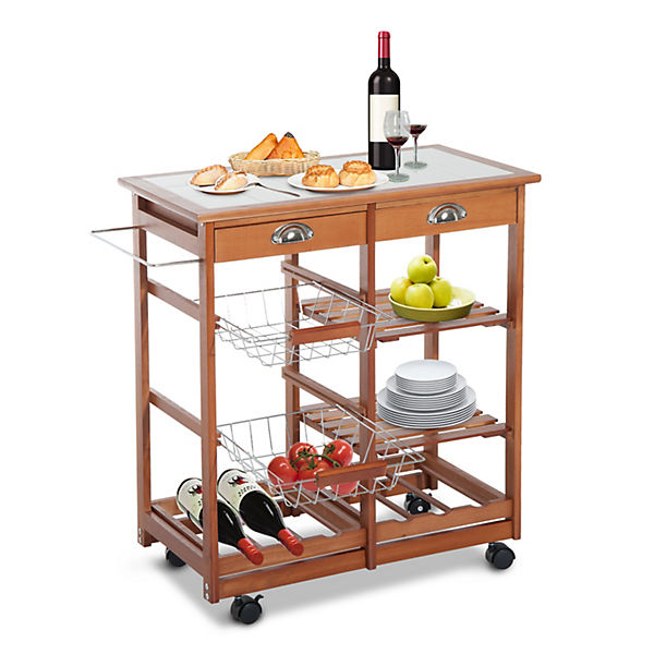 Küchenwagen aus Holz, 2 Schubfächer, Flaschenablage, braun, HOMCOM ...