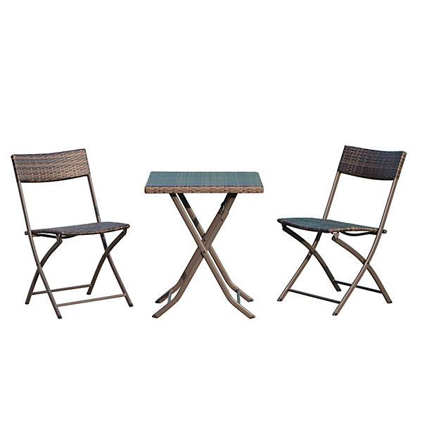 3 tlg polyrattan gartenm bel set klappbar braun outsunny yomonda. Black Bedroom Furniture Sets. Home Design Ideas
