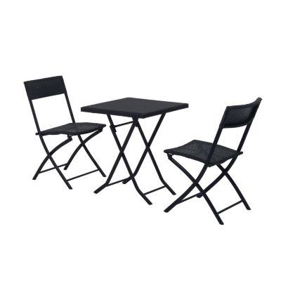 Outsunny Gartenmöbel als 3-teiliges Set schwarz