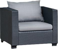 4-tlg. Polyrattan Lounge Gruppe mit 3-Sitzer anthrazit