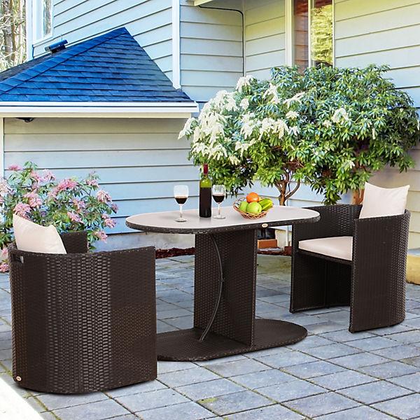 Wunderbar Polyrattan Gartenmöbel Set Inkl. Kissen, Braun, Outsunny | Yomonda