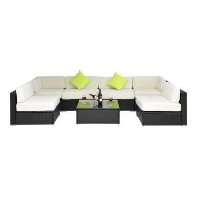 23 tlg. Polyrattan Gartenmöbel Set braun/weiß