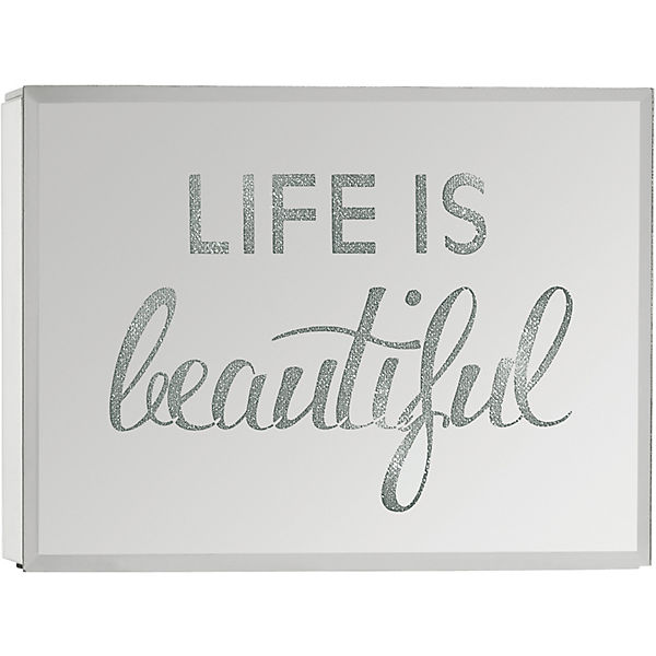 "LED-Spiegelbox ""Life is beautiful"", 20x15 cm"