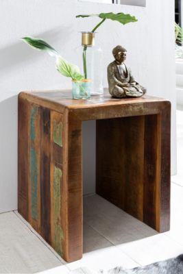 WOHNLING Beistelltisch Kalkutta 45 x 40 x 55 cm Massivholz Couchtisch Wohnzimmertisch Nachttisch Nachtkonsole braun