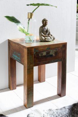 WOHNLING Nachttisch Kalkutta 40 x 40 x 55 cm Mango Massivholz Nachtkästchen Beistelltisch Nachtkonsole braun