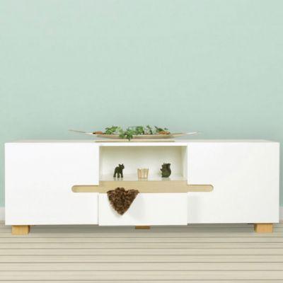 Lowboard Weiß & Eiche Dekor mit 2 Türen + 1 Schublade 150x52x42 cm weiß