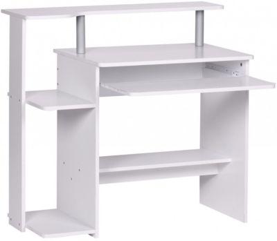 Computertisch mit Ablage 94 cm weiß
