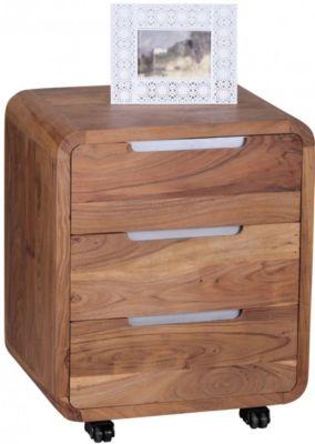 Akazie Massivholz Rollcontainer mit 3 Schubladen beige