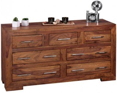 Sheesham Massivholz Kommode mit 7 Schubladen 140x44x75 cm braun