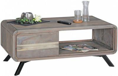 Akazie Massivholz Couchtisch mit 2 Schubladen 110x60x45 cm grau