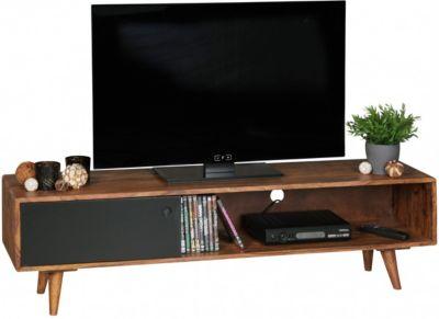 Sheesham Massivholz TV-Board mit 1 Tür 140x40x35 cm schwarz/braun