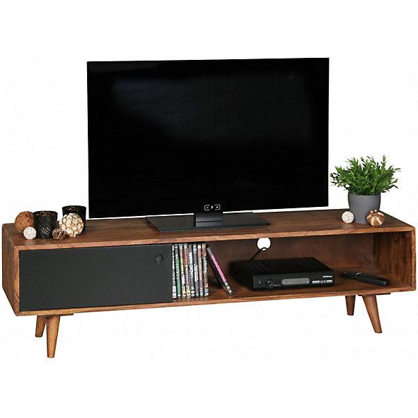 sheesham massivholz tv board mit 1 t r 140x40x35 cm schwarz yomonda. Black Bedroom Furniture Sets. Home Design Ideas