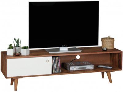 WOHNLING Sheesham Massivholz TV-Board mit 1 Tür 140x40x35 cm braun/weiß