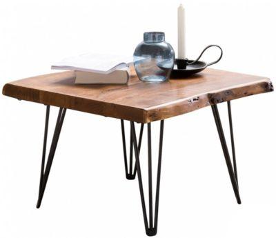 WOHNLING Couchtisch MAHILO Massivholz Baumkante 56x38x51 cm Sheesham Holztisch Metallbeine Wohnzimmertisch braun/schwarz