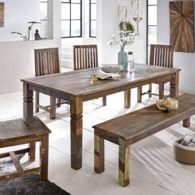 WOHNLING Esszimmertisch Kalkutta in 3 verschiedenen Größen Massivholz Esstisch Küchentisch Bootsholz holzfarben