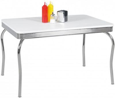WOHNLING Esstisch ELVIS 120 cm American Diner MDF Holz & Alu Esszimmertisch Küchentisch Retro USA Bistrotisch weiß